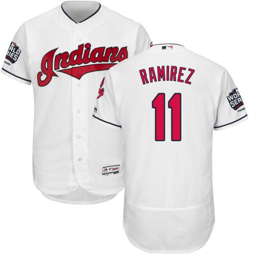 Men's Cleveland Indians #11 Jose Ramirez White Flexbase Authentic Collection 2016 World Series Bound Stitched MLB Jersey