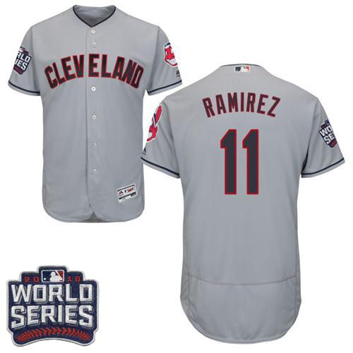 Men's Cleveland Indians #11 Jose Ramirez Grey Flexbase Authentic Collection 2016 World Series Bound Stitched MLB Jersey