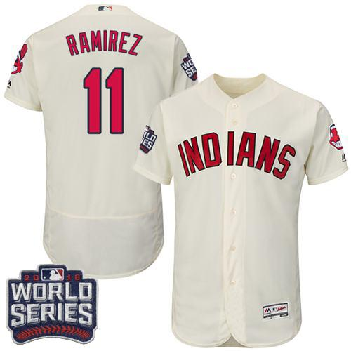 Men's Cleveland Indians #11 Jose Ramirez Cream Flexbase Authentic Collection 2016 World Series Bound Stitched MLB Jersey