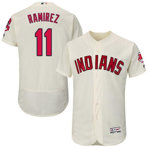 Men's Cleveland Indians #11 Jose Ramirez Cream Flexbase Authentic Collection Stitched MLB Jersey