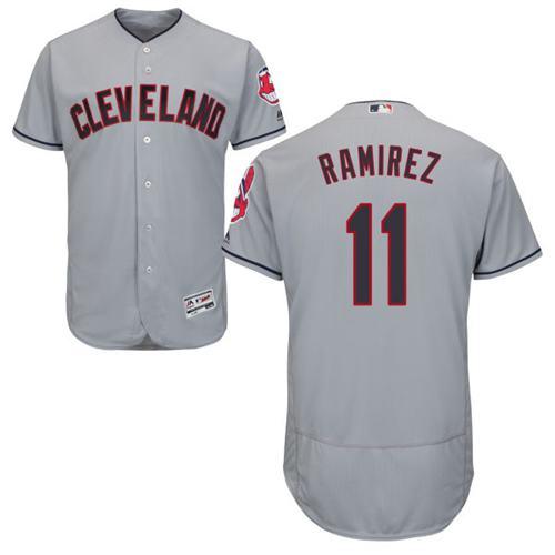 Men's Cleveland Indians #11 Jose Ramirez Grey Flexbase Authentic Collection Stitched MLB Jersey