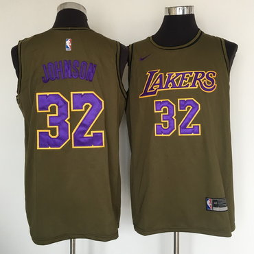 Los Angeles Lakers #32 Magic Johnson Olive Nike Swingman Jersey