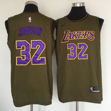 Los Angeles Lakers #32 Magic Johnson Olive Nike Swingman Jersey