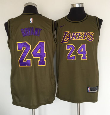 Los Angeles Lakers #24 Kobe Bryant Olive Nike Swingman Jersey