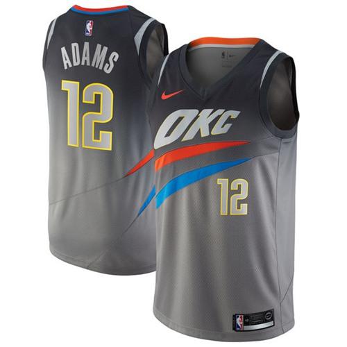 Nike Oklahoma City Thunder #12 Steven Adams Gray NBA Swingman City Edition Jersey
