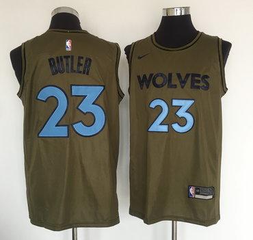 Minnesota Timberwolves #23 Jimmy Butler Olive Nike Swingman Jersey