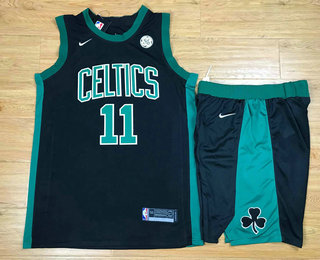 Men's Boston Celtics #11 Kyrie Irving Black 2017-2018 Nike Swingman General Electric Stitched NBA Jersey With Shorts