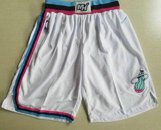 Men's Miami Heat White 2017-2018 Stitched City Edition Shorts