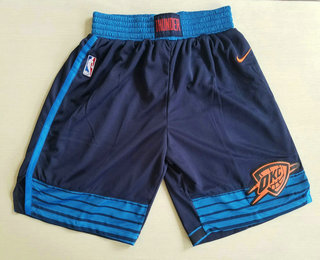 Men's Oklahoma City Thunder Navy Blue 2017-2018 Nike Swingman Stitched NBA Shorts
