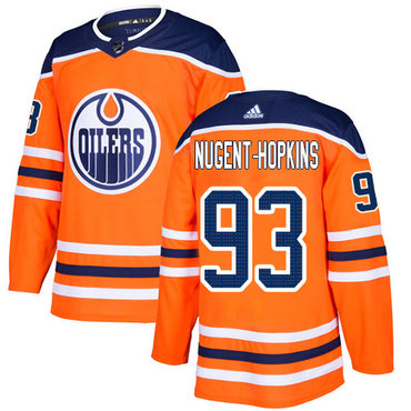 Youth Adidas Edmonton Oilers #93 Ryan Nugent-Hopkins Orange Home Authentic Stitched NHL Jersey
