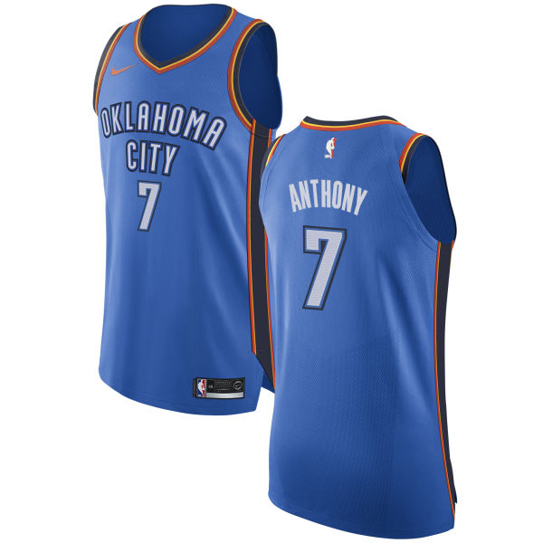 Nike Oklahoma City Thunder #7 Carmelo Anthony Blue NBA Authentic Icon Edition Jersey