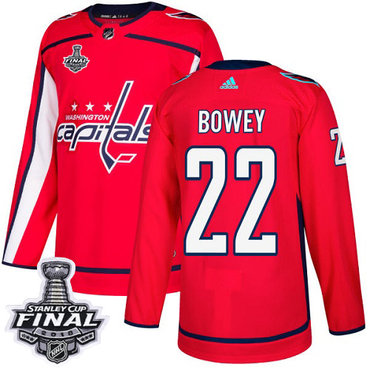 Adidas Capitals #22 Madison Bowey Red Home Authentic 2018 Stanley Cup Final Stitched NHL Jersey