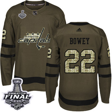 Adidas Capitals #22 Madison Bowey Green Salute to Service 2018 Stanley Cup Final Stitched NHL Jersey