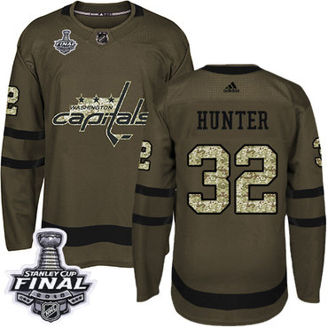 Adidas Capitals #32 Dale Hunter Green Salute to Service 2018 Stanley Cup Final Stitched NHL Jersey