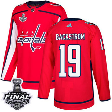 Adidas Capitals #19 Nicklas Backstrom Red Home Authentic 2018 Stanley Cup Final Stitched NHL Jersey