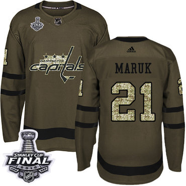 Adidas Capitals #21 Dennis Maruk Green Salute to Service 2018 Stanley Cup Final Stitched NHL Jersey