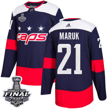 Adidas Capitals #21 Dennis Maruk Navy Authentic 2018 Stadium Series Stanley Cup Final Stitched NHL Jersey