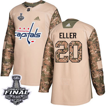 Adidas Capitals #20 Lars Eller Camo Authentic 2017 Veterans Day 2018 Stanley Cup Final Stitched NHL Jersey