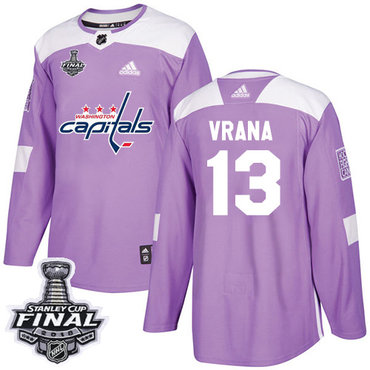 Adidas Capitals #13 Jakub Vrana Purple Authentic Fights Cancer 2018 Stanley Cup Final Stitched NHL Jersey