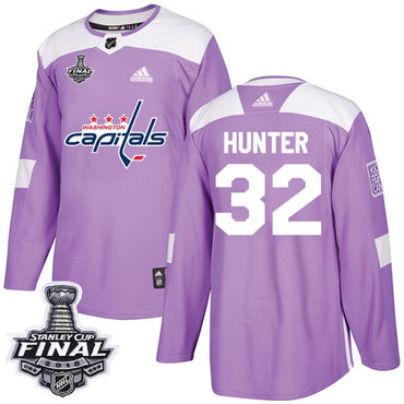 Adidas Capitals #32 Dale Hunter Purple Authentic Fights Cancer 2018 Stanley Cup Final Stitched NHL Jersey