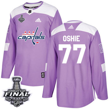 Adidas Capitals #77 T.J. Oshie Purple Authentic Fights Cancer 2018 Stanley Cup Final Stitched NHL Jersey