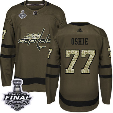 Adidas Capitals #77 T.J Oshie Green Salute to Service 2018 Stanley Cup Final Stitched NHL Jersey