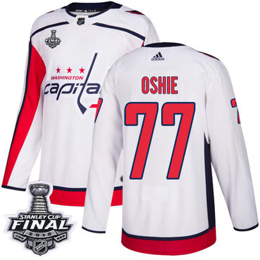 Adidas Capitals #77 T.J. Oshie White Road Authentic 2018 Stanley Cup Final Stitched NHL Jersey