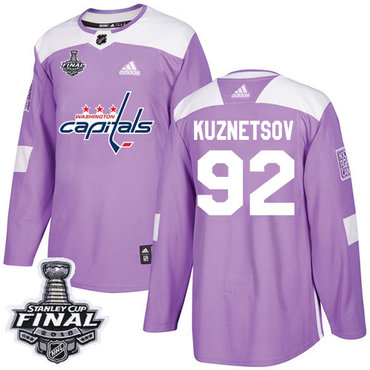 Adidas Capitals #92 Evgeny Kuznetsov Purple Authentic Fights Cancer 2018 Stanley Cup Final Stitched NHL Jersey