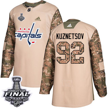 Adidas Capitals #92 Evgeny Kuznetsov Camo Authentic 2017 Veterans Day 2018 Stanley Cup Final Stitched NHL Jersey