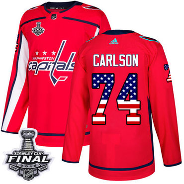 Adidas Capitals #74 John Carlson Red Home Authentic USA Flag 2018 Stanley Cup Final Stitched NHL Jersey