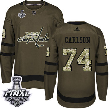 Adidas Capitals #74 John Carlson Green Salute to Service 2018 Stanley Cup Final Stitched NHL Jersey