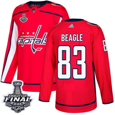 Adidas Capitals #83 Jay Beagle Red Home Authentic 2018 Stanley Cup Final Stitched NHL Jersey