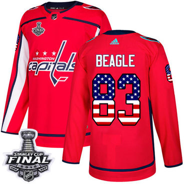 Adidas Capitals #83 Jay Beagle Red Home Authentic USA Flag 2018 Stanley Cup Final Stitched NHL Jersey