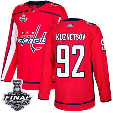 Adidas Capitals #92 Evgeny Kuznetsov Red Home Authentic 2018 Stanley Cup Final Stitched NHL Jersey