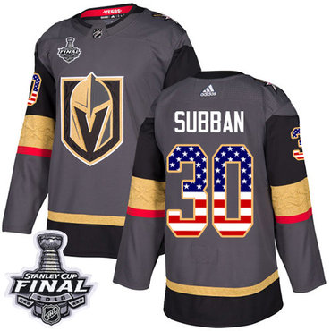 Adidas Golden Knights #30 Malcolm Subban Grey Home Authentic USA Flag 2018 Stanley Cup Final Stitched NHL Jersey