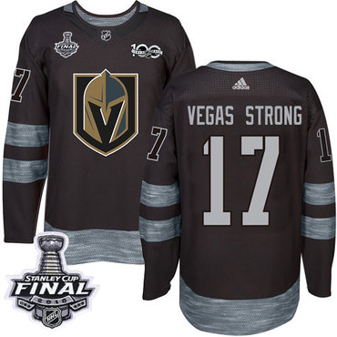 Adidas Golden Knights #17 Vegas Strong Black 1917-2017 100th Anniversary 2018 Stanley Cup Final Stitched NHL Jersey