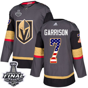 Adidas Golden Knights #7 Jason Garrison Grey Home Authentic USA Flag 2018 Stanley Cup Final Stitched NHL Jersey