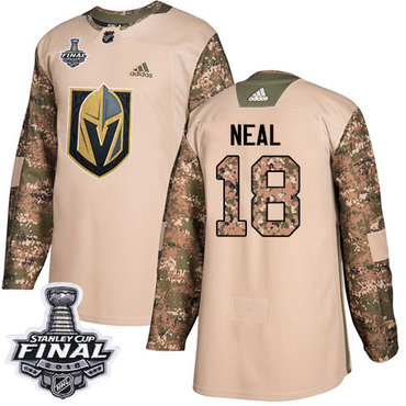 Adidas Golden Knights #18 James Neal Camo Authentic 2017 Veterans Day 2018 Stanley Cup Final Stitched NHL Jersey