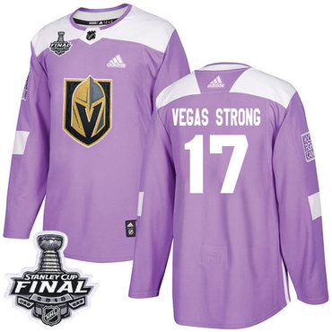 Adidas Golden Knights #17 Vegas Strong Purple Authentic Fights Cancer 2018 Stanley Cup Final Stitched NHL Jersey
