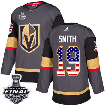 Adidas Golden Knights #19 Reilly Smith Grey Home Authentic USA Flag 2018 Stanley Cup Final Stitched NHL Jersey