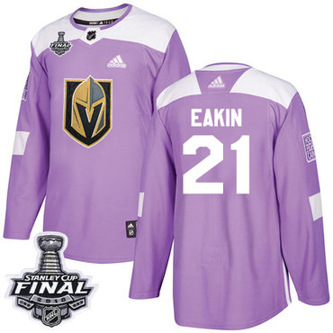 Adidas Golden Knights #21 Cody Eakin Purple Authentic Fights Cancer 2018 Stanley Cup Final Stitched NHL Jersey