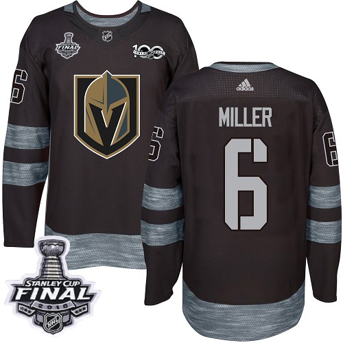 Adidas Golden Knights #6 Colin Miller Black 1917-2017 100th Anniversary 2018 Stanley Cup Final Stitched NHL Jersey