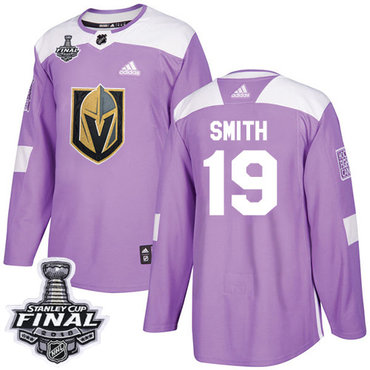 Adidas Golden Knights #19 Reilly Smith Purple Authentic Fights Cancer 2018 Stanley Cup Final Stitched NHL Jersey