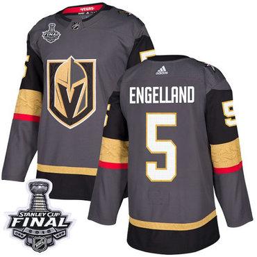 Adidas Golden Knights #5 Deryk Engelland Grey Home Authentic 2018 Stanley Cup Final Stitched NHL Jersey