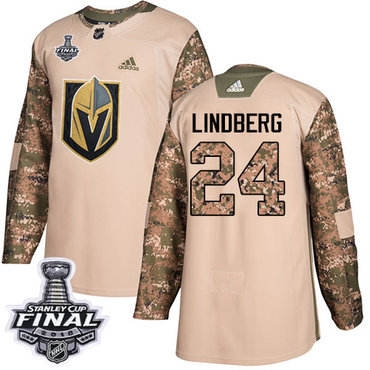 Adidas Golden Knights #24 Oscar Lindberg Camo Authentic 2017 Veterans Day 2018 Stanley Cup Final Stitched NHL Jersey