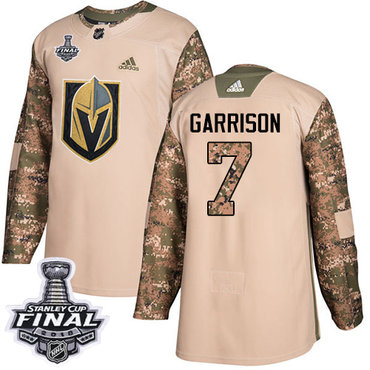 Adidas Golden Knights #7 Jason Garrison Camo Authentic 2017 Veterans Day 2018 Stanley Cup Final Stitched NHL Jersey