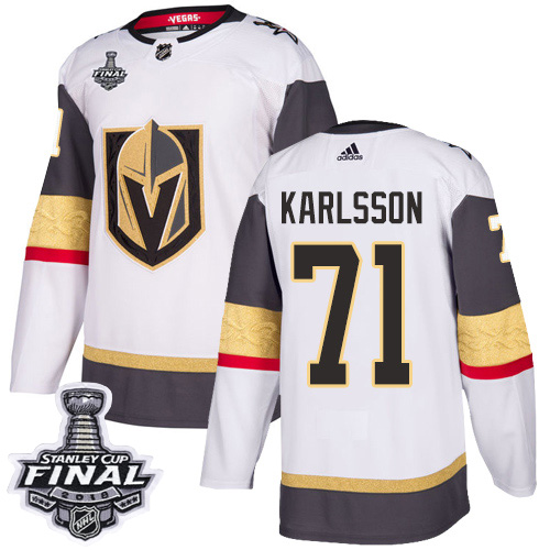 Adidas Golden Knights #71 William Karlsson White Road Authentic 2018 Stanley Cup Final Stitched NHL Jersey