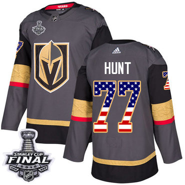 Adidas Golden Knights #77 Brad Hunt Grey Home Authentic USA Flag 2018 Stanley Cup Final Stitched NHL Jersey