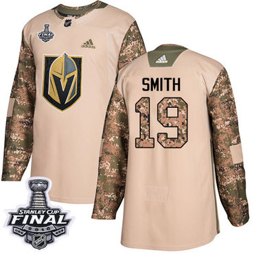 didas Golden Knights #19 Reilly Smith Camo Authentic 2017 Veterans Day 2018 Stanley Cup Final Stitched NHL Jersey