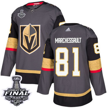 Adidas Golden Knights #81 Jonathan Marchessault Grey Home Authentic 2018 Stanley Cup Final Stitched NHL Jersey
